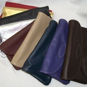 Handbags - Leather Clutch Purse Vibrant Colors *MADE IN USA*
